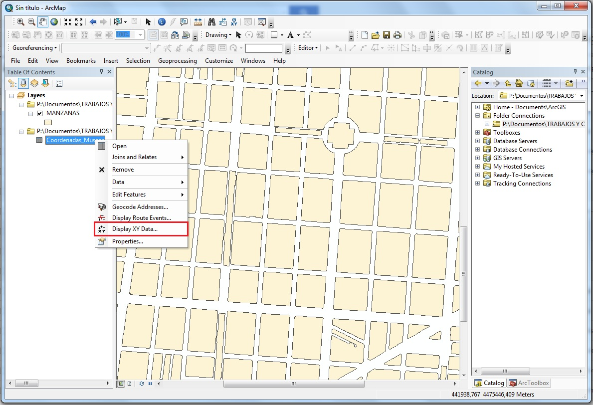 arcgis_Display_xy_data
